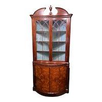 Joseph Gerte Boston MA Custom Mahogany & Burled Walnut Corner Cabinet or Cupboard
