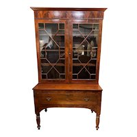 19th c Two-Piece Stepback Bookcase in Mahogany