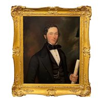 George Hedley 19th c Oil Painting Portrait of a Gentleman, Possibly an Architect 1852