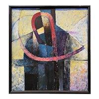 Edin Morales Figurative Abstract Oil Painting, Personaje Junto A La Pared