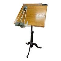Washburn Shops Cast Iron & Oak Drafting Table circa 1910  w/ Keuffel & Esser Drafting Arm