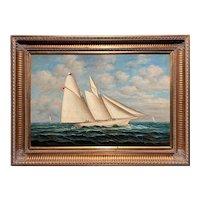 Marine Schooner or Ship Portrait Painting On Open Ocean Signed D. Tayler