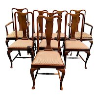Set of 8 English Queen Anne Style Mahogany Upholstered Dining Chairs, Jas. Shoolbred & Co