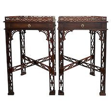 Pair of Mahogany Chinese Chippendale Style Reticulated One Drawer Stands