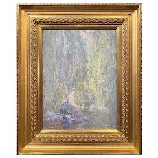 Emile Albert Gruppé Impressionist Woodland Scene Oil Painting, Bather