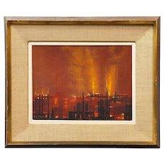 Richard Florsheim Mod Urban Cityscape Oil Painting, Factory District