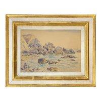 Roger Elliot Fry (Attrib) Watercolor & Ink Painting of a Coastal Scene