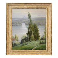 Gustave Adolphe Wiegand Landscape Oil Painting, Lake Sunapee NH Spring Morning