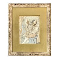Conger Metcalf Impressionist Mixed Media Watercolor & Graphite Painting with Figures & A Dog