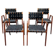 Rare Set of Four Mid Century Walnut & Woven Leather Arm Chairs by Mel Smilow