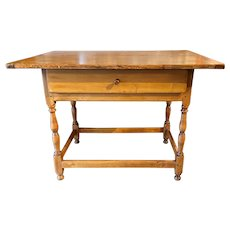 19th c Pine Tavern Table with Stretcher Base & Breadboard End Top