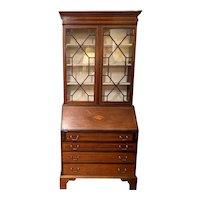 19th c Two Part Mahogany Secretary Desk with Nice Inlay