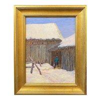 Harry Leslie Hoffman Impressionist Winter Oil Painting, The Old Barn - Jackson