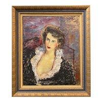 Dimitri Berea Oil Painting Portrait of a Lady, Paris,1952