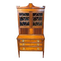 Late 19th c Federal Style Two Piece Ladies Mahogany Tambour Secretary Desk with Bookcase