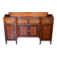 Early 19th c Sheraton Sideboard in Mahogany & Curly Maple