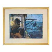 Mike Stiler Early Pastel Painting of a Monhegan Fisherman