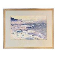 Lee Winslow Court Coastal Watercolor Painting, Vapor Ice, Monhegan Maine