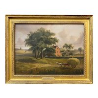 Samuel Lancaster Gerry Country Landscape Oil Painting, The Hay Wagon 1838
