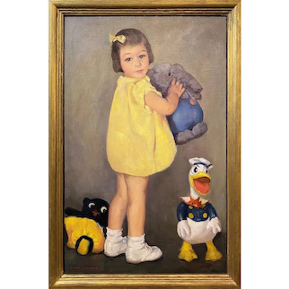 John Lavalle Oil Painting Portrait of a Girl with Donald Duck 1938