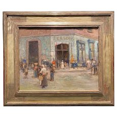 Paul Bernard King Oil Painting, Busy Market - New Orleans, with Signed Harer Frame