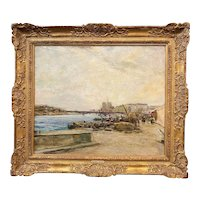 Chauncey Ryder Impressionist Landscape Oil Painting, Along The Seine