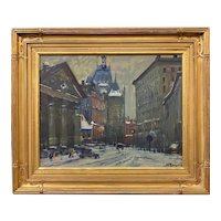 Arthur Clifton Goodwin Impressionist Oil Painting, City Street Scene