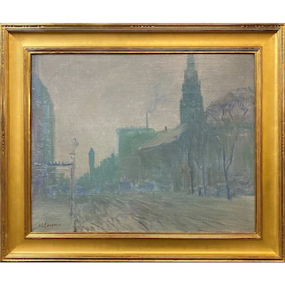 Arthur Clifton Goodwin Oil Painting, Tonalist Boston Street Scene Near the Arlington Street Church