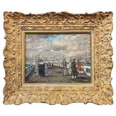 Francois Gall French Impressionist Oil Painting, Figures on a Bridge