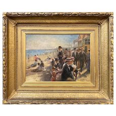William Gilbert Gaul Impressionist Oil Painting of a NJ Beach & Boardwalk, possibly Atlantic City
