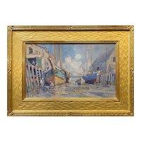 Arthur Vidal Diehl Coastal Oil Painting, Docks at Provincetown