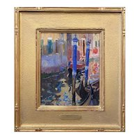 Aldro Thompson Hibbard Impressionist Oil Painting, Venetian Canal 1914