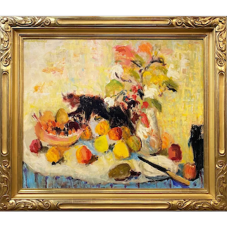 Humbert Howard Impressionist Oil Painting, Still Life with Cat 1969