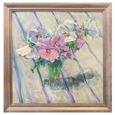 Stephen Motyka Large Impressionist Floral Still Life Oil Painting