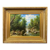 Erik Koeppel New Hampshire Landscape Oil Painting, Bathers in the White Mountains
