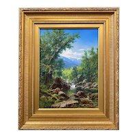 Erik Koeppel  NH Landscape Oil Painting, Mt. Washington on the Ellis In Spring