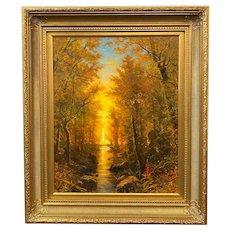Erik Koeppel New England Landscape Oil Painting, Autumn Sunset