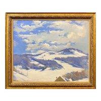 Alexander Robertson James Oil Painting Winter Landscape, Woodstock Hill Vermont 1917