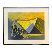 Daniel Phill Acrylic Modernist Abstract Painting, Dominating Triangle Landscape
