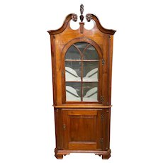 Diminutive 19th Century Pennsylvania Two Part Cherry Corner Cupboard