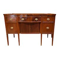 19th c Mahogany Sideboard with Shaped Front & Tambour Doors