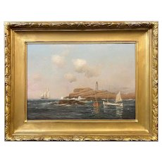 Warren Sheppard Oil Painting, Boon Lighthouse, Isles of Shoals, New Hampshire