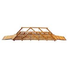 Early to Mid 20th c Folk Art Oak Truss Bridge Model