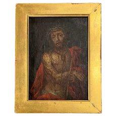 18th c Christ Oil On Canvas Fragment in Gilt Frame
