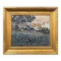 Louis Abel-Truchet Coastal Oil Painting, Harbor Scene with Boats