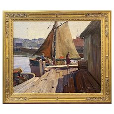 Anthony Thieme Coastal Oil Painting, Harbor Scene