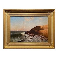 Alfred Thompson Bricher Coastal Oil Painting, Rocky Coast, Narragansett Bay