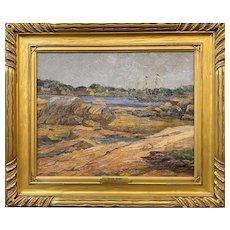 Reynolds Beal Marine Oil Painting with Schooner  - Low Tide