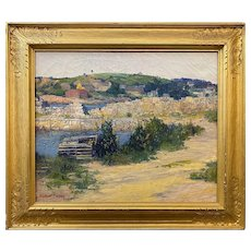 Winthrop D. Turney Coastal Landscape Oil Painting, Pigeon Hill in Rockport MA