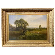 Samuel W. Griggs Landscape Oil Painting, Haying Along the River 1869